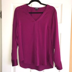 "Express v-neck long or 3/4"" sleeve blouse"